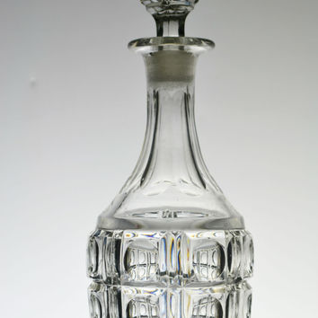 Pressed and Cut Glass Whisky Decanter Antique English 19th Century
