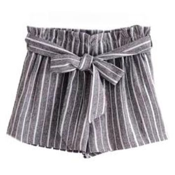 'Sheila' Striped Front Tied Paper Bag Shorts (2 Colors)