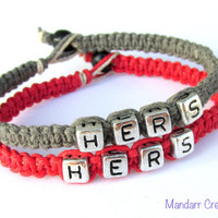 Hers and Hers, Red and Grey Handmade Hemp Jewelry for LGBT Couples