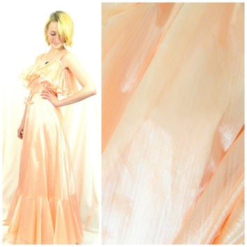 70s 80s vintage prom dress / Floor length ball gown / Formal dress / Peach shimmer dress / Hippie boho bohemian size medium