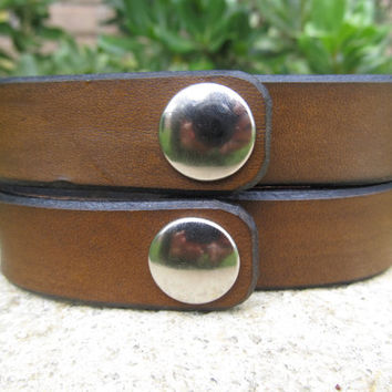 Two Matching Bracelets - His Hers Hand Tooled Leather Bracelet Cuff - Roman Numerals - Snap