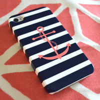 Monogrammed Anchor & Stripes iPhone Cover