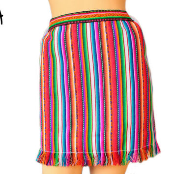 High Waisted, Pencil skirt, Tribal Miniskirt with Fringe in Peruvian fabric, Peruvian textile, Multicolor, Woven with Inca fabric