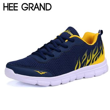 Hee Grand 2017 Casual Men Shoes Summer Style Mesh Flats Lace-Up Man Loafers Creepers Casual Shoes Plus Size 38-45 XMR1829