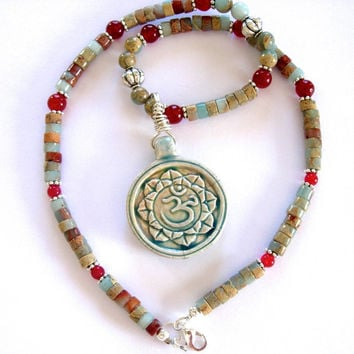 Yoga Necklace, Elegant Om (Ohm) Sanskrit Pendant on a strand of Impression Jasper and Ruby Jade 17 inch Yoga Tribal Meditation Jewelry