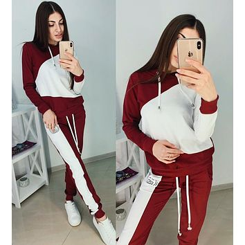GUCCI Popular Women Leisure Print Long Sleeve Top Pants Trousers Two-Piece Burgundy