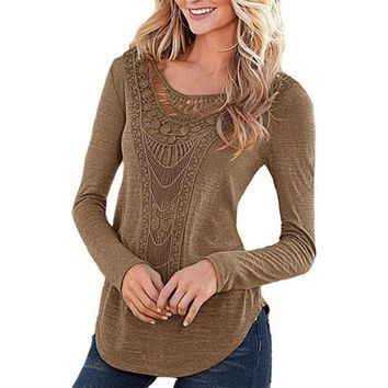 Women Ladies Loose Crochet T Shirt Sexy Hollow Out Long Sleeve Solid Color Cotton Tee Shirt Tops BTS pullover christmas hoodie 2