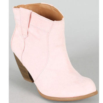 Light Pink Cowboy Western Ankle Booties Suede Cowgirl Fashion Pastel Boots