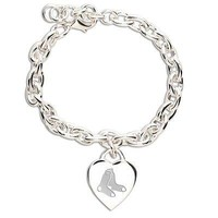 BOSTON RED SOX HEART CHARM BRACELET NEW & OFFICIALLY LICENSED