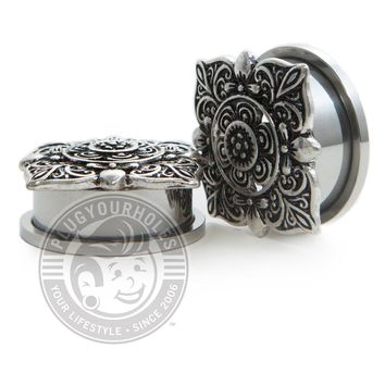 Filigree Square Threaded Steel Plugs