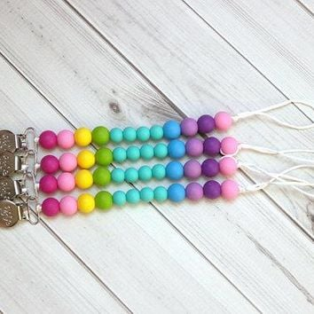 Getting Sew Crafty - Pacifier Clip - Rainbow {turquoise}