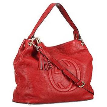 Gucci Soho Leather Hobo Red