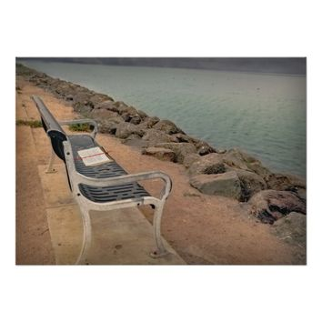 Bench with a book, by the water, poster. poster