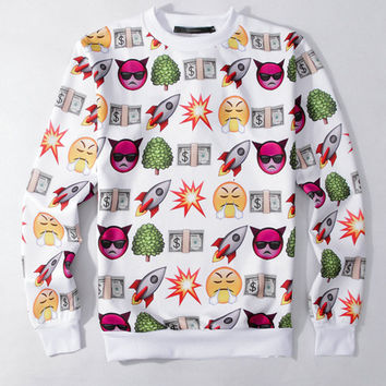 White Rocket Smiley Devil Emoji Print Sweatshirt