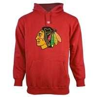 Mens Chicago Blackhawks Old Time Hockey Red Big Logo with Crest Pullover Hoodie