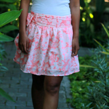 Floral Skirt, Pastel Coral Skirt, Floral Mini Skirt in Coral Pink, Spring Skirt with Sash