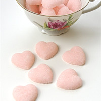 Pink Sugar Hearts for Tea Parties, Champagne Toasts, Favors, Coffee, Tea, Berries, Cider, Lemonade