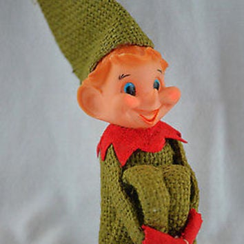 Rare Burlap Pixie Elf Knee Hugger Christmas Ornament in Holiday Green