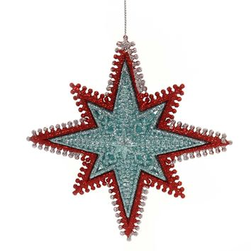 Holiday Ornaments STARBURST WIRED EDGING Plastic Red Gold Silver T2443 Aqua