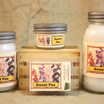 Sweet Pea Scent Candles and Wax Melts, Flower Scent Candle Wax, Highly Scented Candles and Wax Tarts, Gift for Her, Great Mothers Day Gift