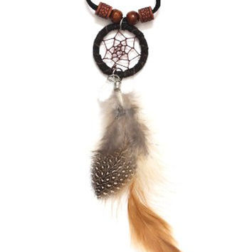 Dreamcatcher Feather Necklace Black Wood Beaded NL03 Black Faux Leather Ethnic Native Fashion Jewelry