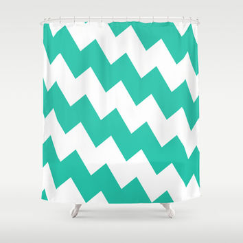 Chevron Bias in Teal Shower Curtain by House of Jennifer