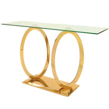 Brielle Console Table Glass Top, Rose Gold