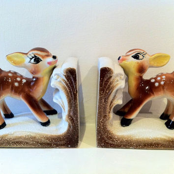 Vintage Pair of China Deer Bookends - Bambi Kitsch