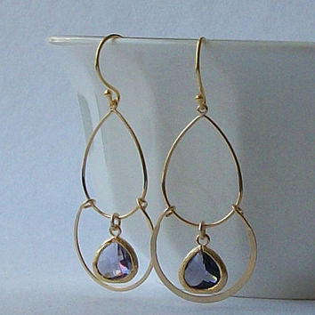 Gold and Amethyst Crystal Chandelier Earrings, Amethyst Purple Crystal Chandelier