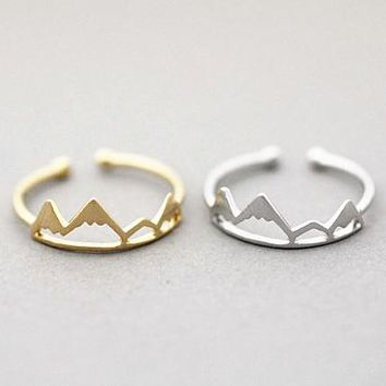 Statement Hiking Adventure Travel Adjustable Snowy Mountain range king Ring accessories Minimalist Jewelry Graduation Gift