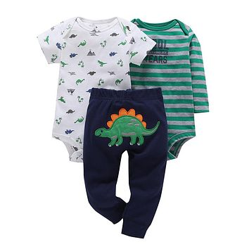 New infant baby boy clothes cotton green stripe romper dinosaur model pants 3pcs cute newborn baby girl outfit costume