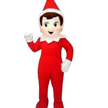 High Quality Red Elf On The Shelf Mascot Costume