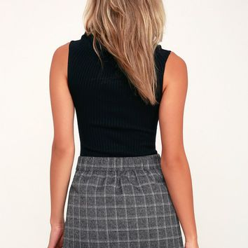 Count on Me Charcoal Grey Plaid Button-Up Mini Skirt