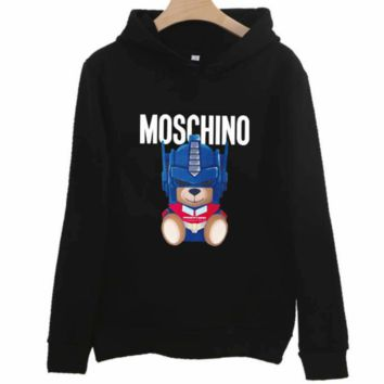 Moschino autumn and winter loose hooded couple wear bear print hooded sweater Black