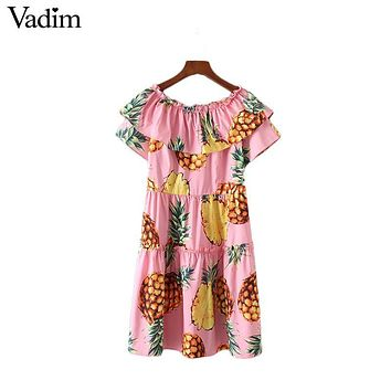 Vadim sweet slash neck pineapple print pleated dress short sleeve zipper ladies summer streetwear casual mini dresses QZ2988