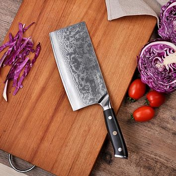 "Sunnecko 7"" Cleaver Knife Japanese VG10 Steel Core Blade Damascus Chef's Cooking Knives G10 Handle Razor Sharp Meat Cutting"