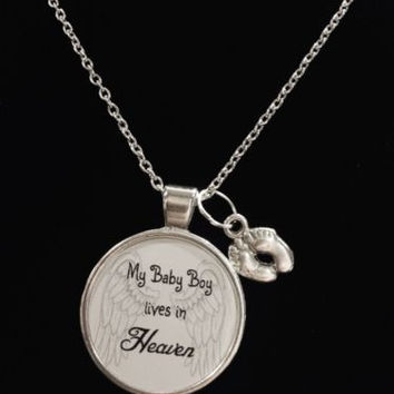 Son In Heaven Guardian Angel Baby Boy Footprint Heaven In Memory Necklace