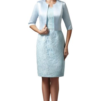 Helen Fontaine Short Sheath Mother of the Bride Dress with Jacket