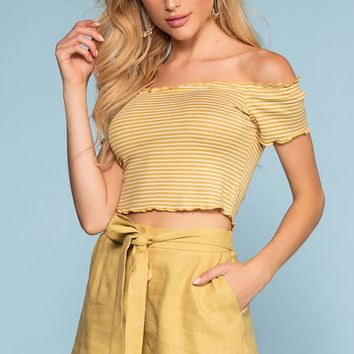 Rory Tie-Front Linen Shorts - Mustard