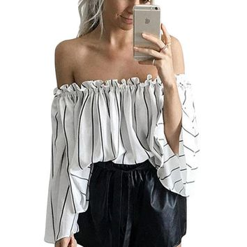 Black Stripes Print Ruffled Off Shoulder Bell Sleeve Top