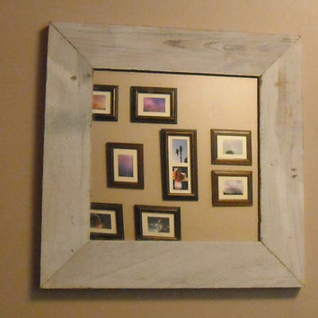 Reclaimed Rustic Barn Wood Framed Mirror by 3SistersCountryStore