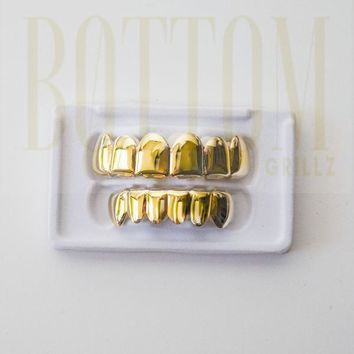 Bottom Gold Grillz 14k Gold Plated 6 Teeth