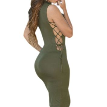 Army Green High Neck Lace up Bodycon Midi Dress