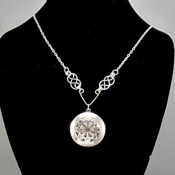 Aromatherapy Necklace - Beautiful Filigree Locket with Celtic Knots