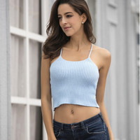 Sexy Backless Spaghetti Strap Knit Tops [10467456724]