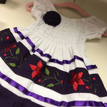 Mexican Baby Dress Off-shoulder Purple