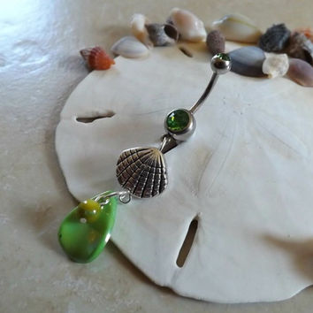 Sea Shell Belly Button Ring With Green Pearl Shell and Pearl Navel Jewelry