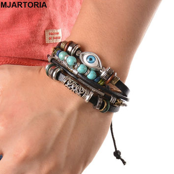 Punk Style Leather Bracelet Ethnic Multilayer Black Adjustable wrap Bracelet Evil Eye Feather Charm Fine Turkish Jewelry 21.5cm