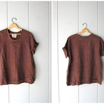 Slouchy FLAX Blouse Copper Brown Blue Woven LINEN Shirt 90s Minimal Loose Fit Top Modern Slouch Linen Tshirt Vintage Womens Small Medium