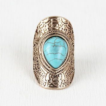 Turquoise Drop Armor Ring
